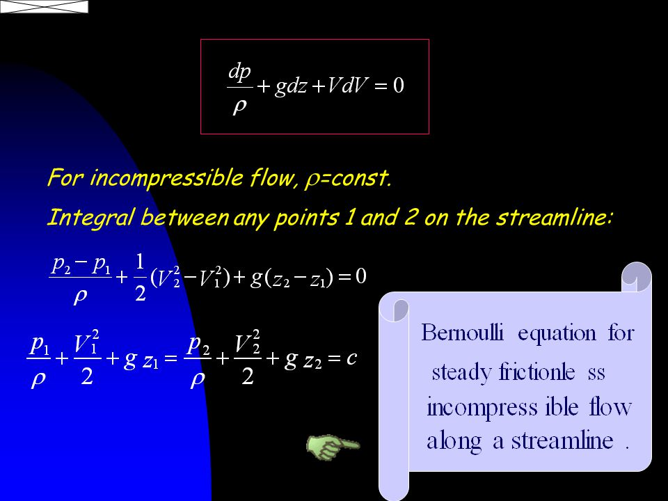 For incompressible flow,  =const. Integral between any points 1 and 2 on the streamline: