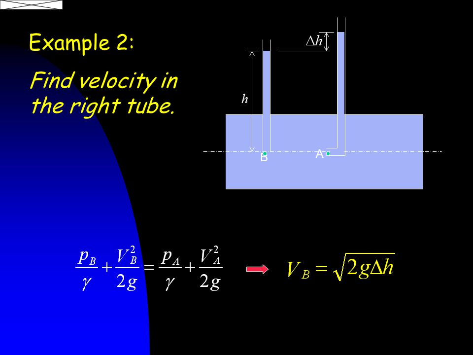 Example 2: Find velocity in the right tube. h A B