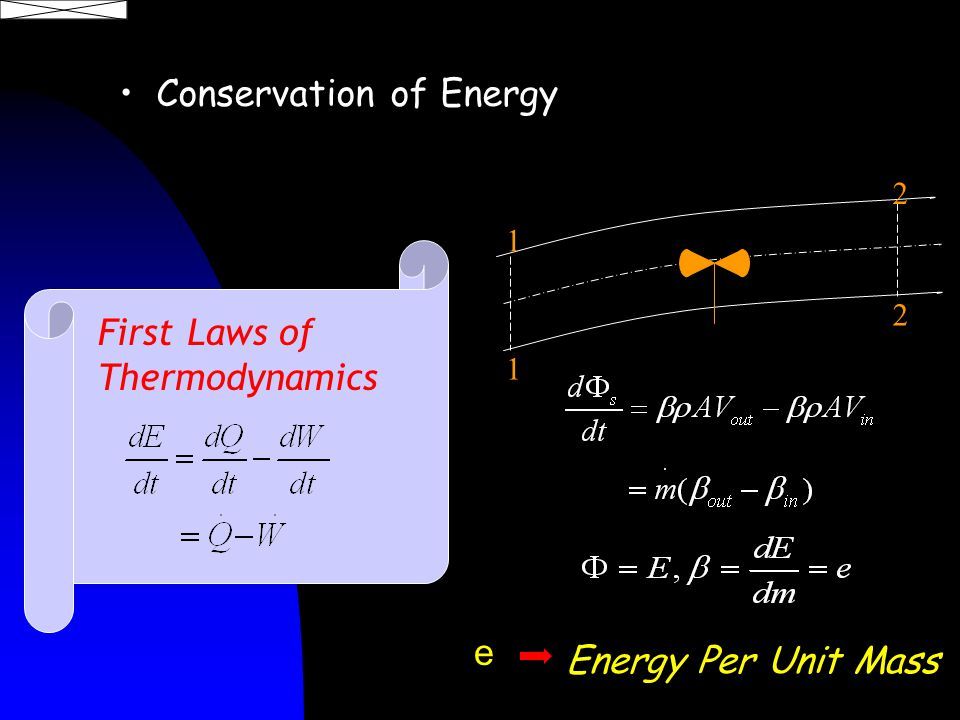 Energy Per Unit Mass 1 1 2 2 e First Laws of Thermodynamics Conservation of Energy