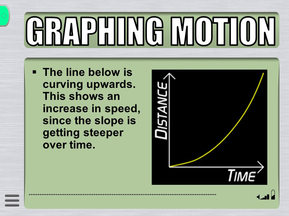  The line below is curving upwards. This shows an increase in speed, since the slope is getting steeper over time.