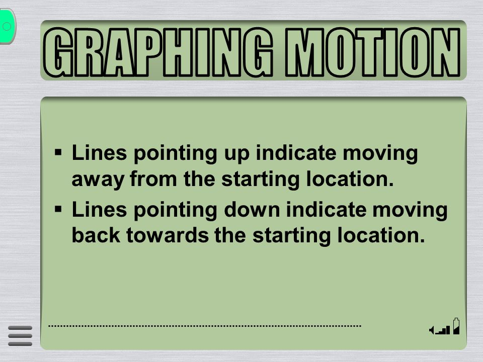  Lines pointing up indicate moving away from the starting location.  Lines pointing down indicate moving back towards the starting location.