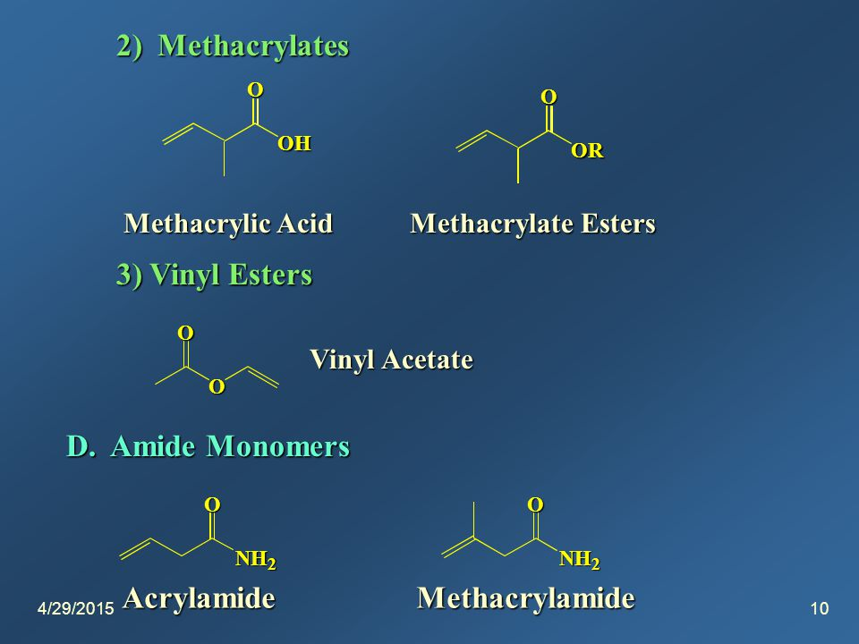 4/29/201510 2) Methacrylates OH O OR O Methacrylate Esters 3) Vinyl Esters O O Vinyl Acetate D.