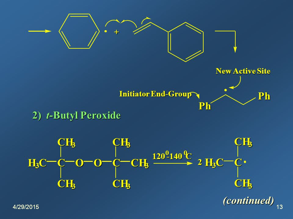 4/29/201513 + Ph Ph New Active Site Initiator End-Group 2) t-Butyl Peroxide H 3 CC CH 3 CH 3 OOC CH 3 CH 3 CH 3 120 0 -140 0 C H 3 CC CH 3 CH 3 2 (continued)