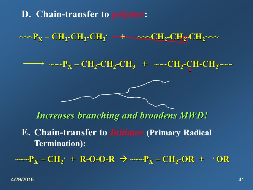 4/29/201541 D. Chain-transfer to polymer: ~~~P X – CH 2 -CH 2 -CH 2.