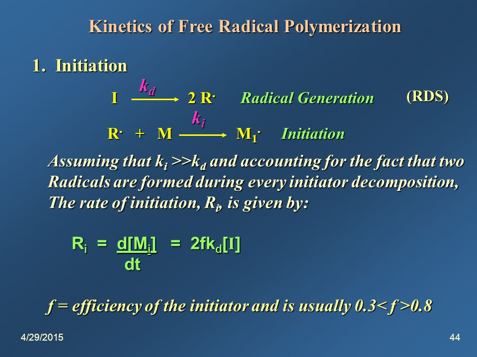 4/29/201544 Kinetics of Free Radical Polymerization 1.