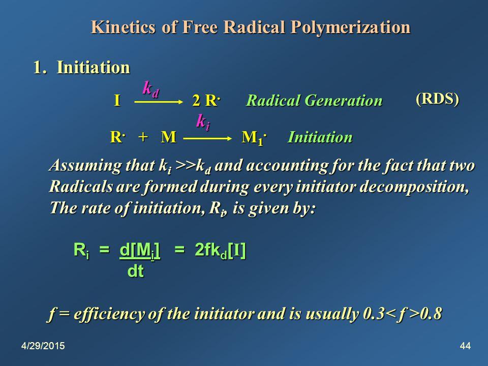 4/29/201544 Kinetics of Free Radical Polymerization 1.