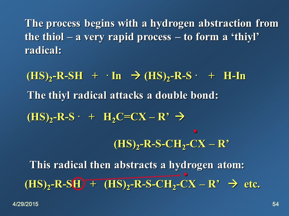 4/29/201554 The process begins with a hydrogen abstraction from the thiol – a very rapid process – to form a 'thiyl' radical: (HS) 2 -R-SH +.