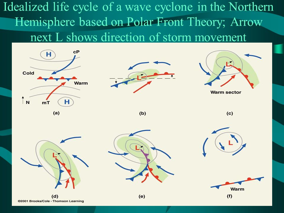 Idealized life cycle of a wave cyclone in the Northern Hemisphere based on Polar Front Theory; Arrow next L shows direction of storm movement