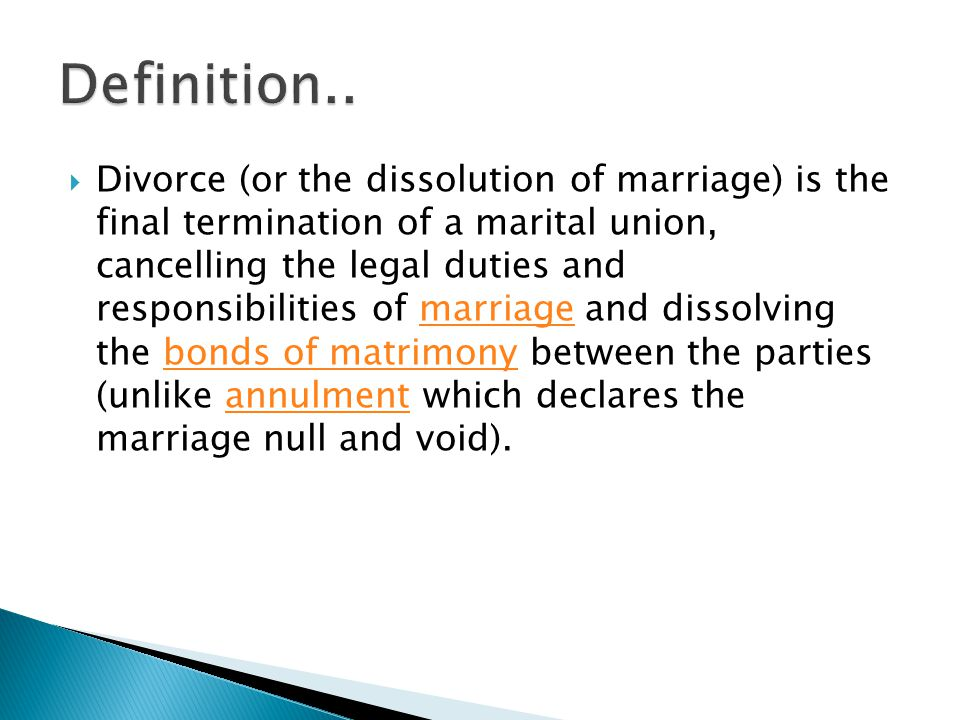  Simplified divorce – irretrievable breakdown of marriage, no fault divorce, made easier BBC News 10 th February 2011 It s 40 years since the 1969 Divorce Reform Act came into effect in January 1971.