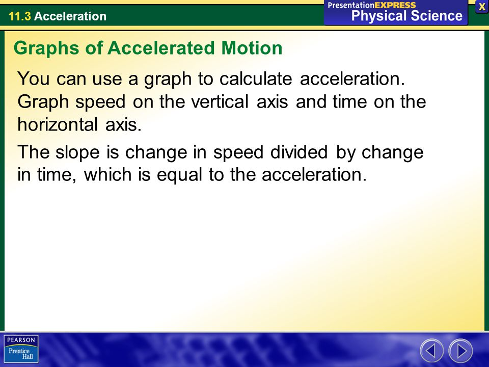 11.3 Acceleration You can use a graph to calculate acceleration. Graph speed on the vertical axis and time on the horizontal axis. The slope is change