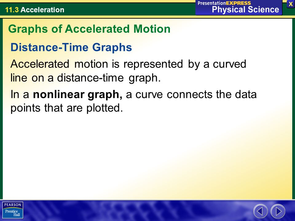 11.3 Acceleration Distance-Time Graphs Accelerated motion is represented by a curved line on a distance-time graph. In a nonlinear graph, a curve conn
