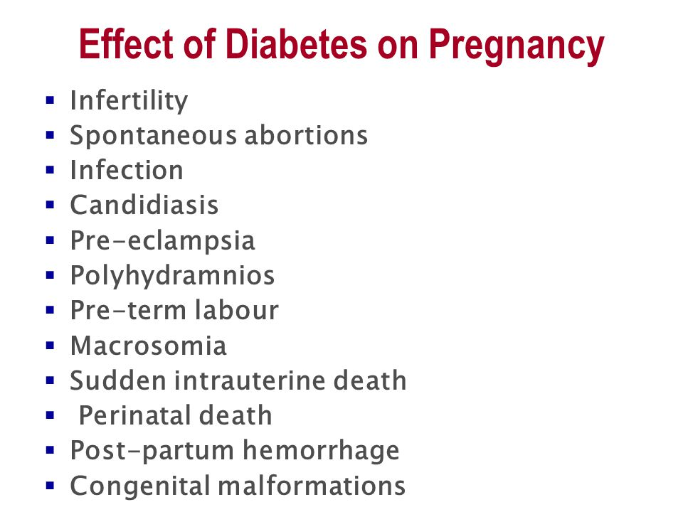 Effect of Diabetes on Pregnancy  Infertility  Spontaneous abortions  Infection  Candidiasis  Pre-eclampsia  Polyhydramnios  Pre-term labour  Macrosomia  Sudden intrauterine death  Perinatal death  Post-partum hemorrhage  Congenital malformations