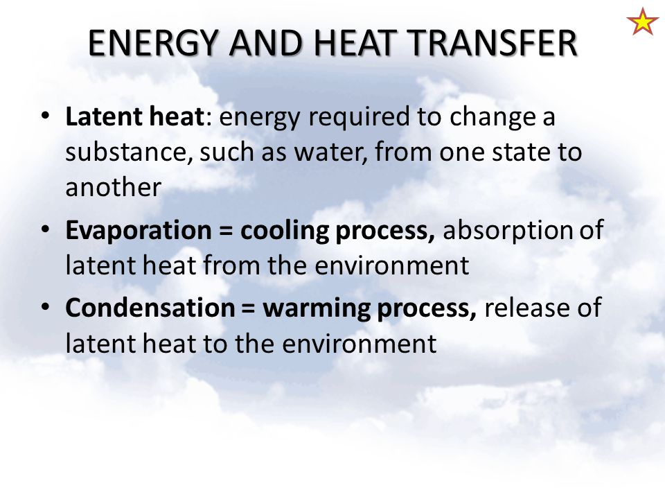 ENERGY AND HEAT TRANSFER Latent heat: energy required to change a substance, such as water, from one state to another Evaporation = cooling process, a
