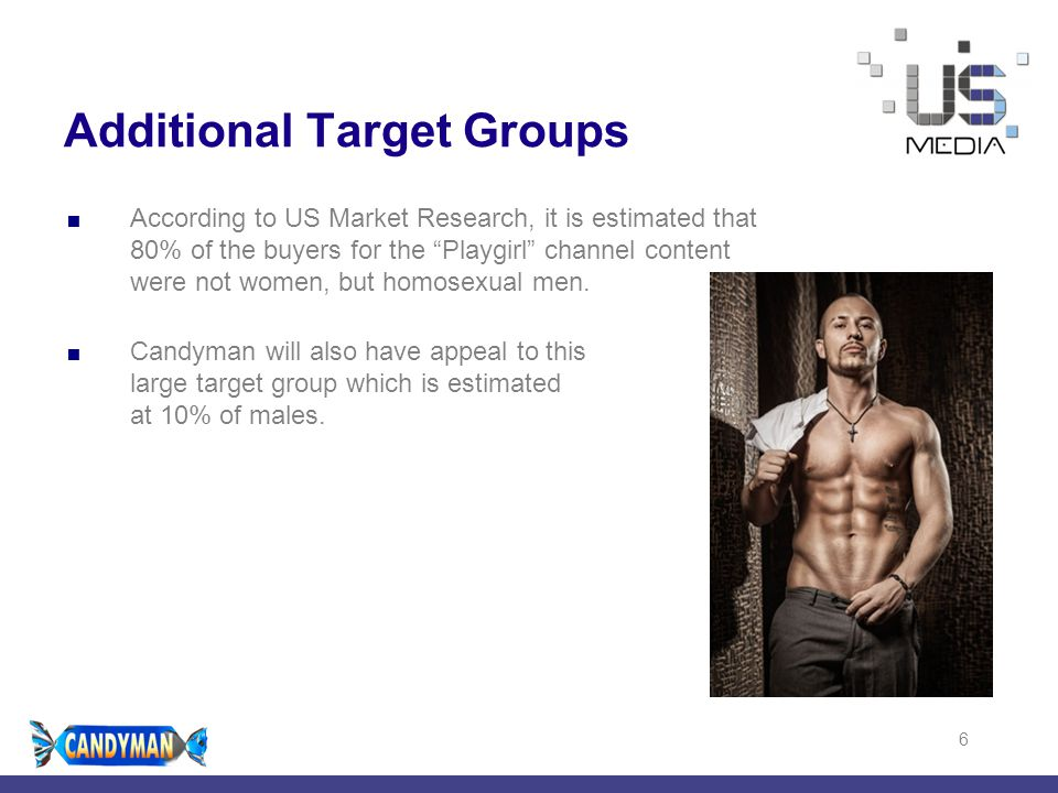 "4/29/20156 Additional Target Groups  According to US Market Research, it is estimated that 80% of the buyers for the ""Playgirl"" channel content were"