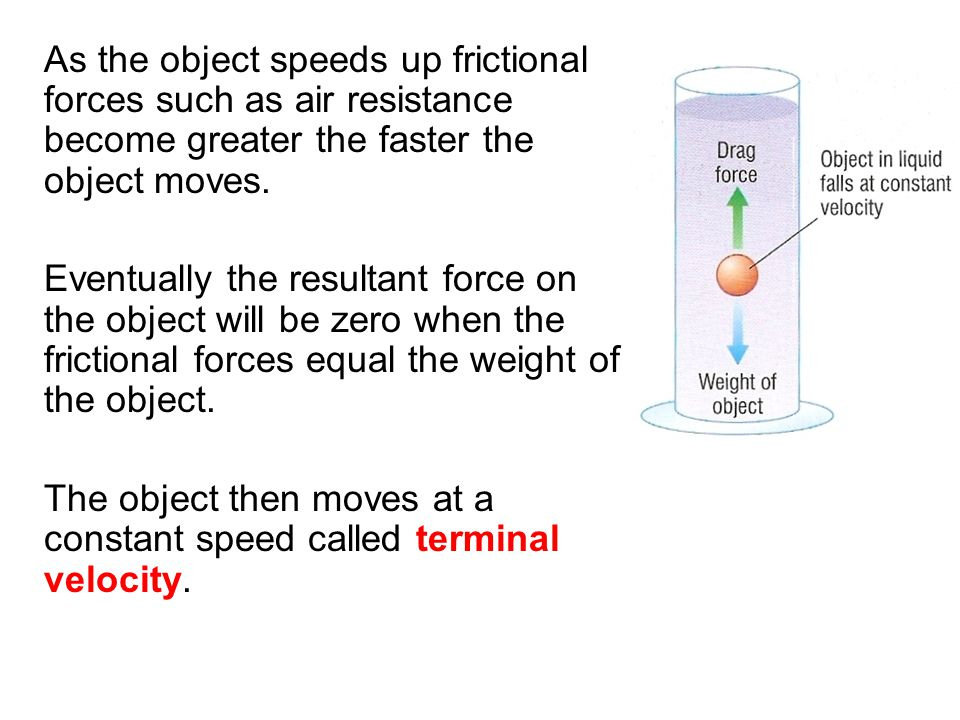 As the object speeds up frictional forces such as air resistance become greater the faster the object moves. Eventually the resultant force on the obj