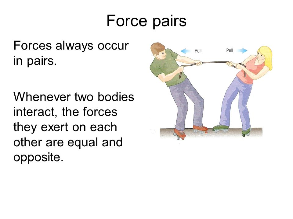 Force pairs Forces always occur in pairs. Whenever two bodies interact, the forces they exert on each other are equal and opposite.