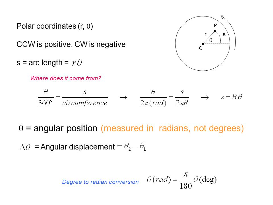 C P rs  Polar coordinates (r,  ) CCW is positive, CW is negative s = arc length =  = angular position (measured in radians, not degrees) = Angular