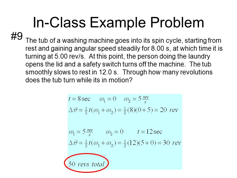 In-Class Example Problem A certain wheel begins to rotate.