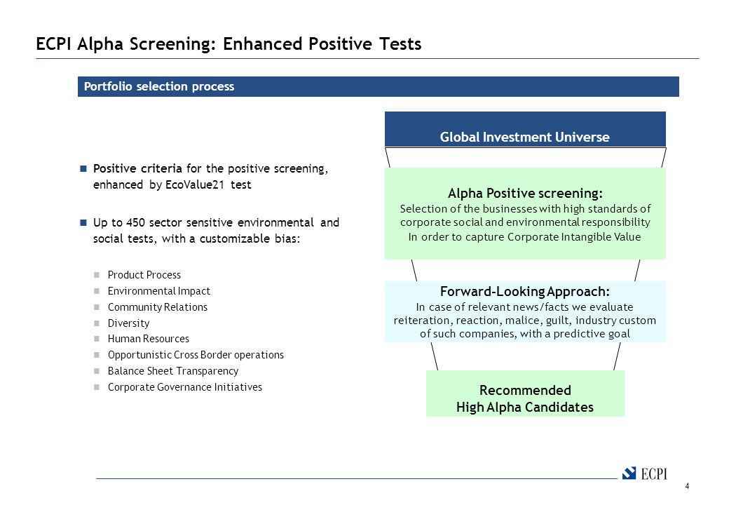 4 ECPI Alpha Screening: Enhanced Positive Tests Portfolio selection process Global Investment Universe Recommended High Alpha Candidates Alpha Positive screening: Selection of the businesses with high standards of corporate social and environmental responsibility In order to capture Corporate Intangible Value Positive criteria for the positive screening, enhanced by EcoValue21 test Up to 450 sector sensitive environmental and social tests, with a customizable bias: Product Process Environmental Impact Community Relations Diversity Human Resources Opportunistic Cross Border operations Balance Sheet Transparency Corporate Governance Initiatives Forward-Looking Approach: In case of relevant news/facts we evaluate reiteration, reaction, malice, guilt, industry custom of such companies, with a predictive goal