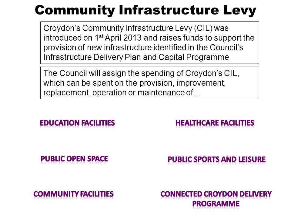 Community Infrastructure Levy Croydon's Community Infrastructure Levy (CIL) was introduced on 1 st April 2013 and raises funds to support the provision of new infrastructure identified in the Council's Infrastructure Delivery Plan and Capital Programme The Council will assign the spending of Croydon's CIL, which can be spent on the provision, improvement, replacement, operation or maintenance of…