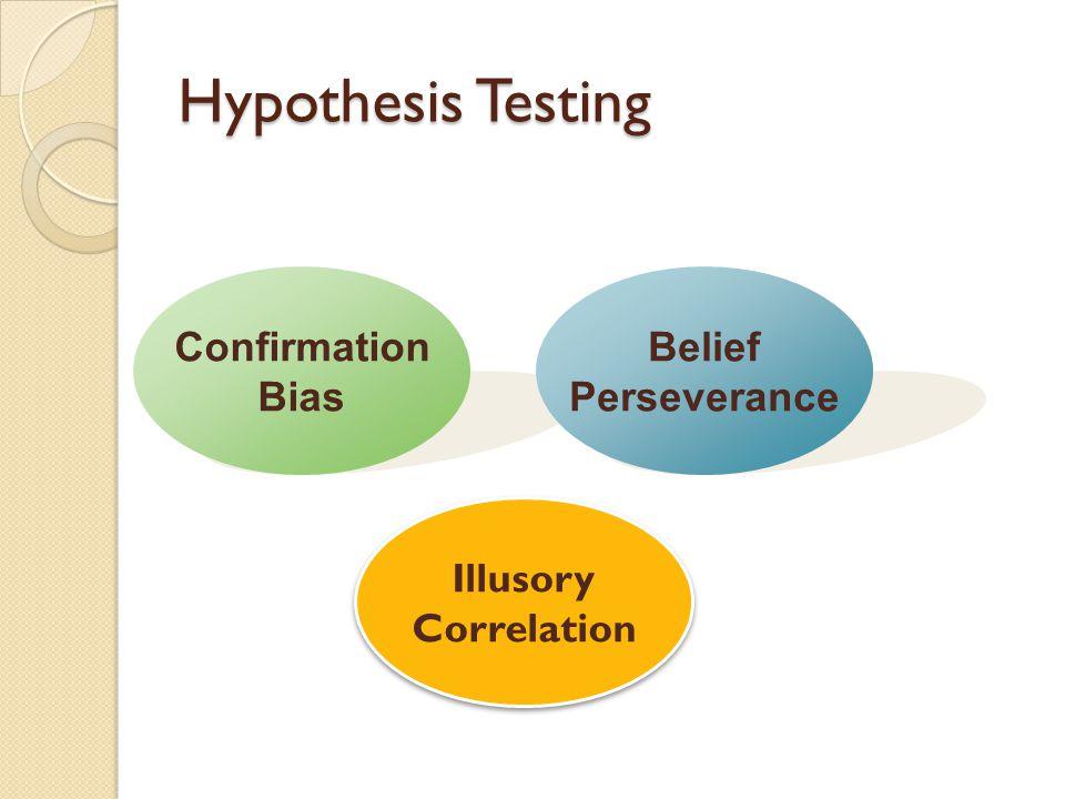 Hypothesis Testing Confirmation Bias Illusory Correlation Belief Perseverance