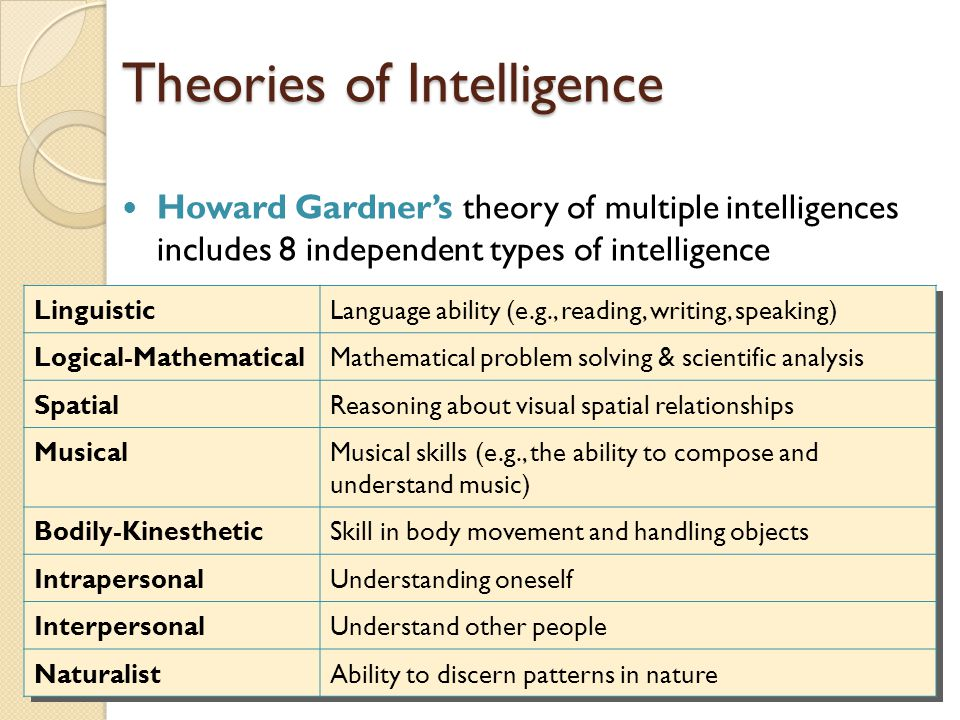 Theories of Intelligence Howard Gardner's theory of multiple intelligences includes 8 independent types of intelligence LinguisticLanguage ability (e.