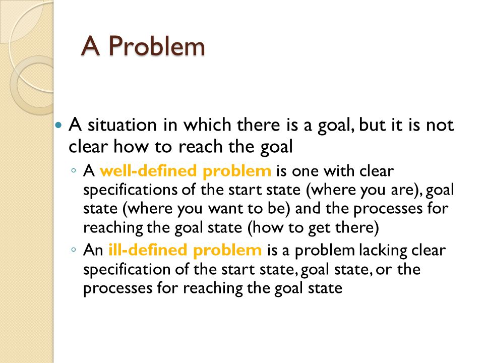 Problem Solving Involves two steps... Interpreting the problem Trying to solve the problem