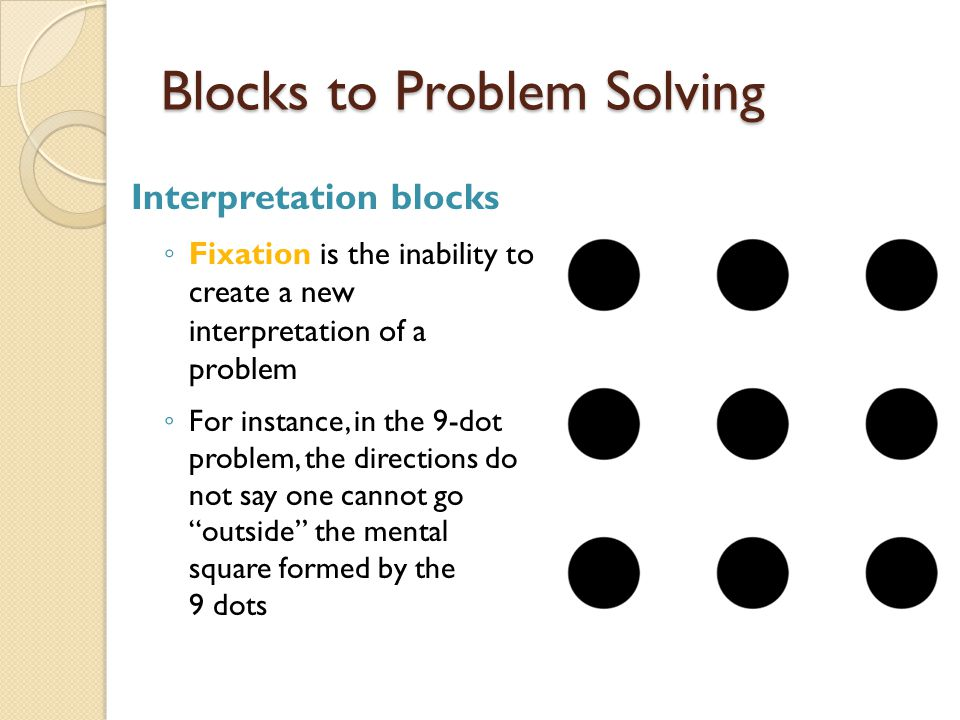 Blocks to Problem Solving Interpretation blocks ◦ Functional fixedness is the inability to see that an object can have a function other than its typical one  For example, if you need a screwdriver but don't have one, a dime could be used to serve the purpose of a screwdriver  Occurs during the definition phase of problem solving  Limits our ability to solve problems that require using an object in a novel way  To combat functional fixedness, you should systematically think about the possible novel uses of all the various objects in the problem environment