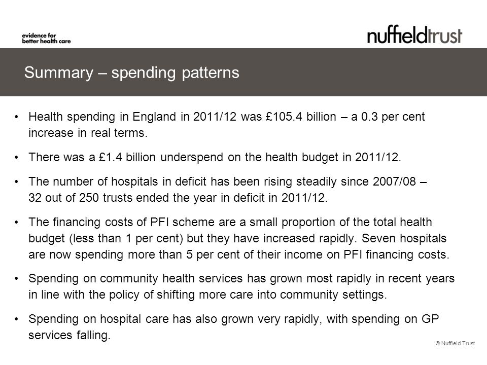 © Nuffield Trust Summary – spending patterns Health spending in England in 2011/12 was £105.4 billion – a 0.3 per cent increase in real terms. There w