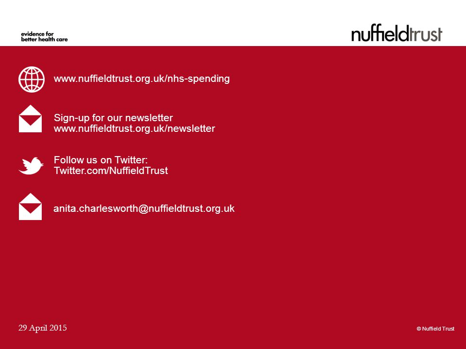© Nuffield Trust 29 April 2015 www.nuffieldtrust.org.uk/nhs-spending Sign-up for our newsletter www.nuffieldtrust.org.uk/newsletter Follow us on Twitter: Twitter.com/NuffieldTrust © Nuffield Trust anita.charlesworth@nuffieldtrust.org.uk