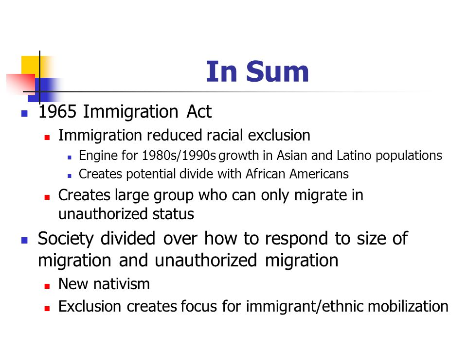 In Sum 1965 Immigration Act Immigration reduced racial exclusion Engine for 1980s/1990s growth in Asian and Latino populations Creates potential divide with African Americans Creates large group who can only migrate in unauthorized status Society divided over how to respond to size of migration and unauthorized migration New nativism Exclusion creates focus for immigrant/ethnic mobilization