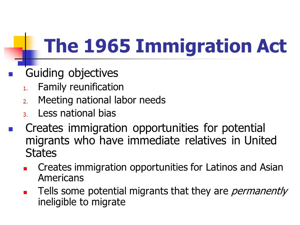 The 1965 Immigration Act Guiding objectives 1. Family reunification 2.