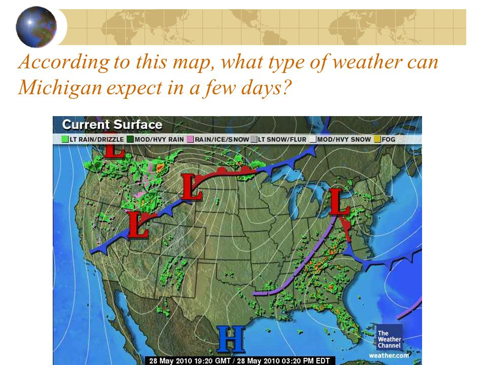 According to this map, what type of weather can Michigan expect in a few days?