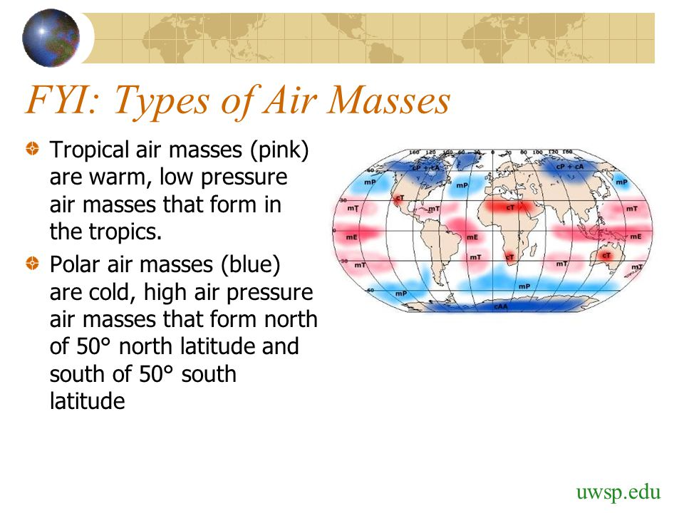 FYI: Types of Air Masses Tropical air masses (pink) are warm, low pressure air masses that form in the tropics. Polar air masses (blue) are cold, high