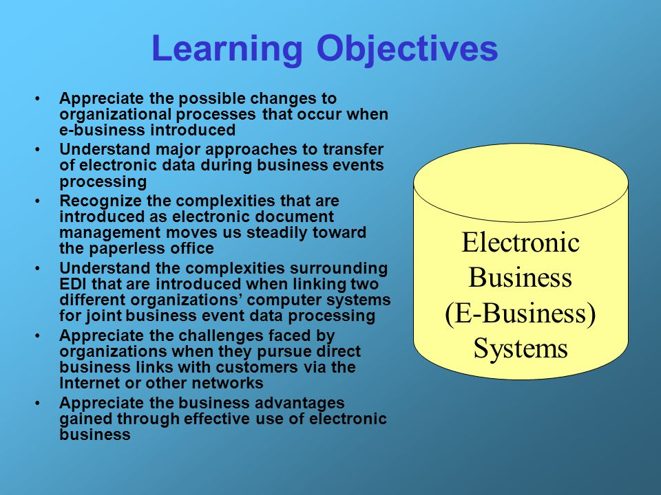 Learning Objectives Appreciate the possible changes to organizational processes that occur when e-business introduced Understand major approaches to t