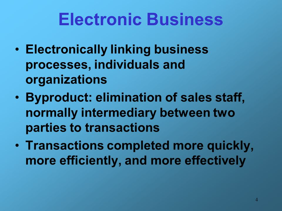 4 Electronic Business Electronically linking business processes, individuals and organizations Byproduct: elimination of sales staff, normally interme