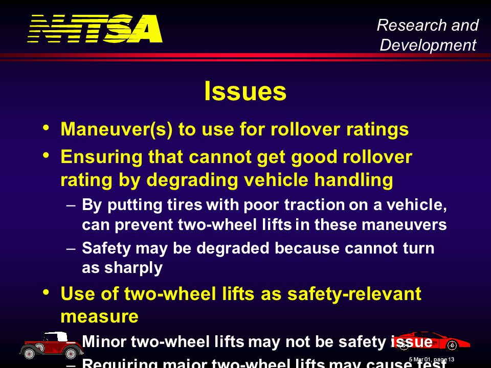 Research and Development 5 Mar 01, page 13 Issues Maneuver(s) to use for rollover ratings Ensuring that cannot get good rollover rating by degrading vehicle handling –By putting tires with poor traction on a vehicle, can prevent two-wheel lifts in these maneuvers –Safety may be degraded because cannot turn as sharply Use of two-wheel lifts as safety-relevant measure –Minor two-wheel lifts may not be safety issue –Requiring major two-wheel lifts may cause test driver safety problems