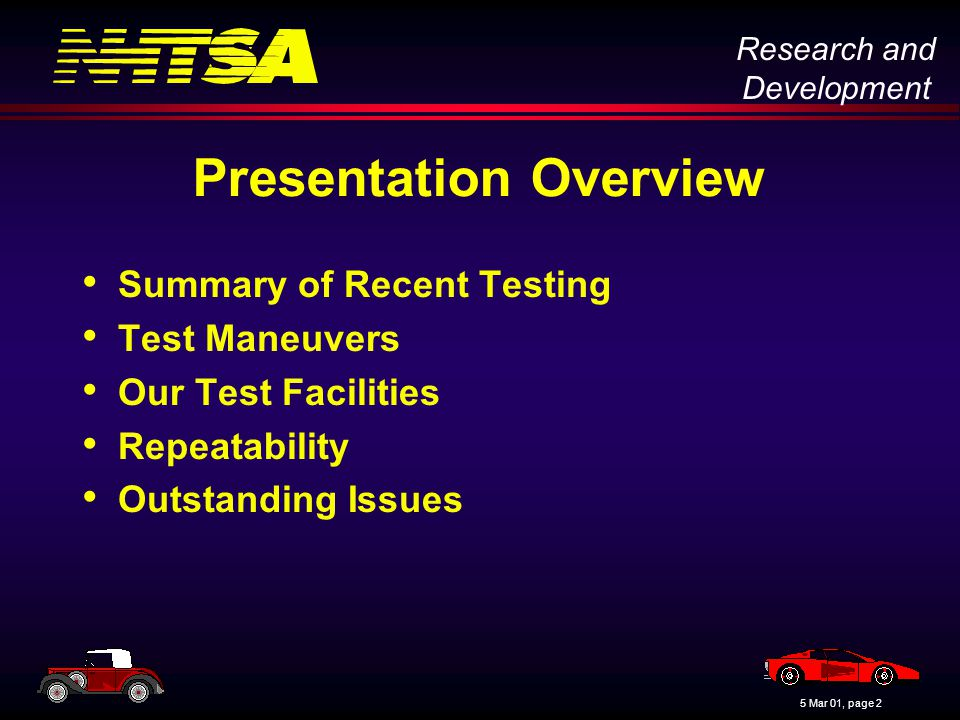 Research and Development 5 Mar 01, page 3 Summary of Recent Testing NHTSA has been performing dynamic rollover testing steadily since fall of 1996 –Isuzu Trooper investigation in 1996 –Phase I-A research in 1997 –Phase I-B research in 1997 – 98 –Phase II research in 1998 –Phase III research in 1999 – 2000 –Ford Explorer investigation in 2000 –Phase IV research in 2001