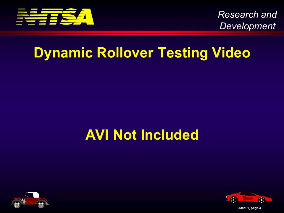 Research and Development 5 Mar 01, page 4 Dynamic Rollover Testing Video AVI Not Included