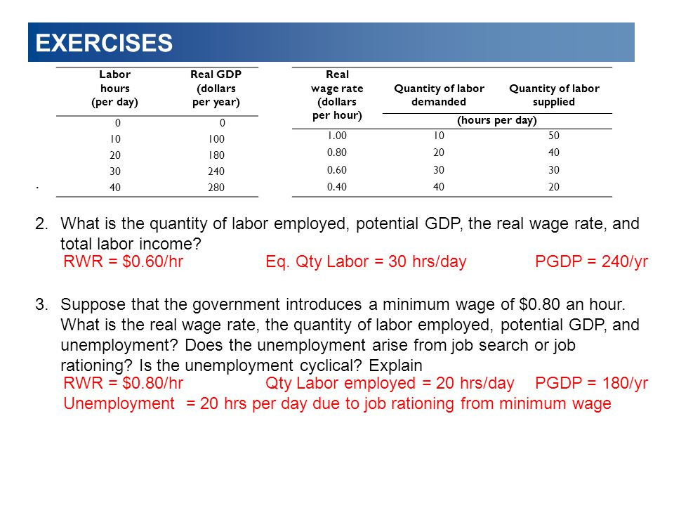 EXERCISES. 2.What is the quantity of labor employed, potential GDP, the real wage rate, and total labor income? 3.Suppose that the government introduc