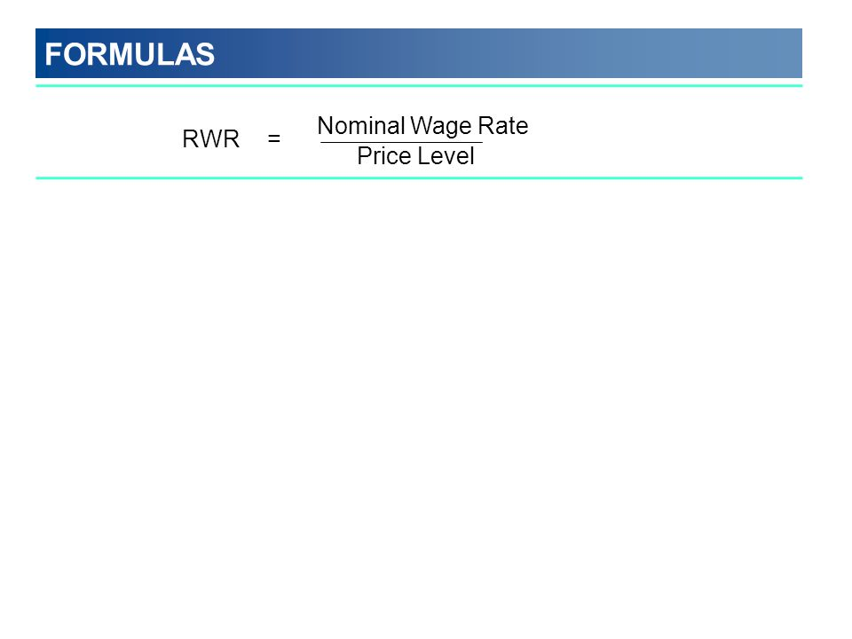 FORMULAS Nominal Wage Rate Price Level RWR =