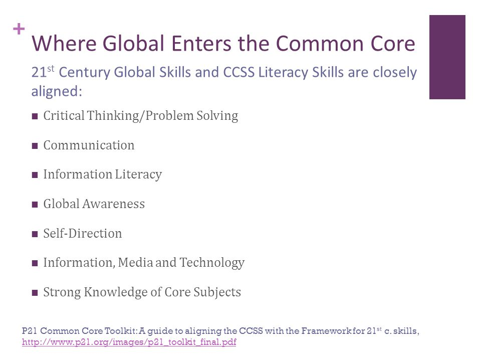 + Where Global Enters the Common Core Critical Thinking/Problem Solving Communication Information Literacy Global Awareness Self-Direction Information