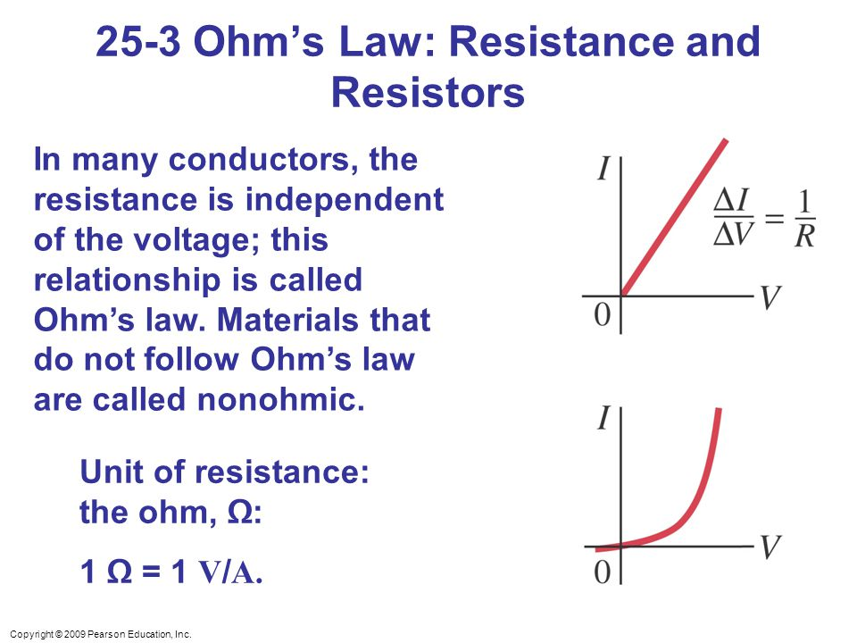 Copyright © 2009 Pearson Education, Inc. In many conductors, the resistance is independent of the voltage; this relationship is called Ohm's law. Mate