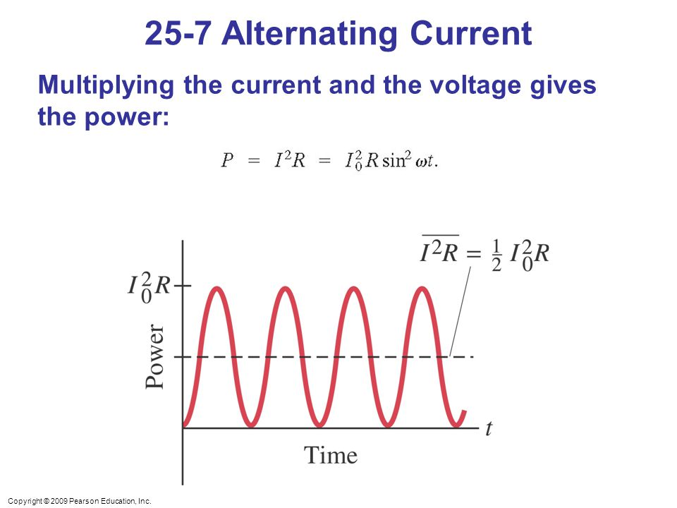 Copyright © 2009 Pearson Education, Inc. Multiplying the current and the voltage gives the power: 25-7 Alternating Current