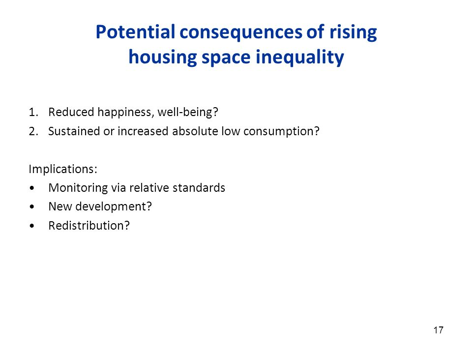 17 Potential consequences of rising housing space inequality 1.Reduced happiness, well-being.