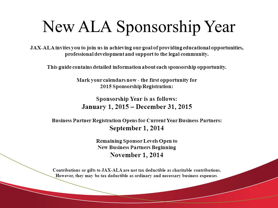 New ALA Sponsorship Year JAX-ALA invites you to join us in achieving our goal of providing educational opportunities, professional development and support to the legal community.