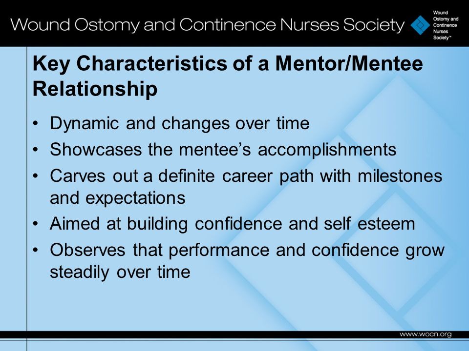 Key Characteristics of a Mentor/Mentee Relationship Dynamic and changes over time Showcases the mentee's accomplishments Carves out a definite career path with milestones and expectations Aimed at building confidence and self esteem Observes that performance and confidence grow steadily over time