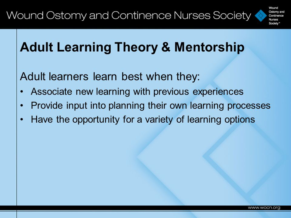 Adult Learning Theory & Mentorship Adult learners learn best when they: Associate new learning with previous experiences Provide input into planning their own learning processes Have the opportunity for a variety of learning options