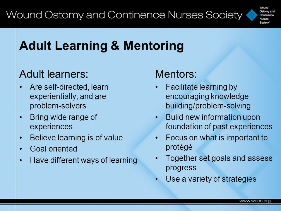 Adult Learning & Mentoring Adult learners: Are self-directed, learn experientially, and are problem-solvers Bring wide range of experiences Believe learning is of value Goal oriented Have different ways of learning Mentors: Facilitate learning by encouraging knowledge building/problem-solving Build new information upon foundation of past experiences Focus on what is important to protégé Together set goals and assess progress Use a variety of strategies