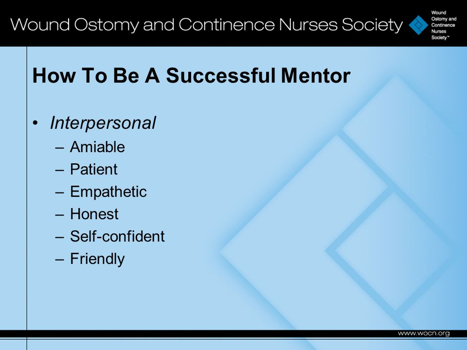 How To Be A Successful Mentor Interpersonal –Amiable –Patient –Empathetic –Honest –Self-confident –Friendly